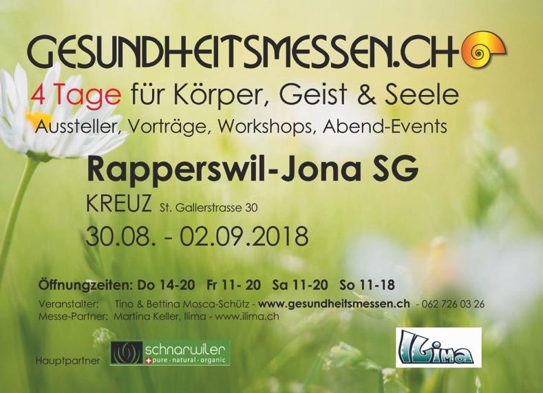 ILIMA ist an der GESUNDHEITSMESSE  in Rapperswil-Jona – 30.8. – 2.9.2018